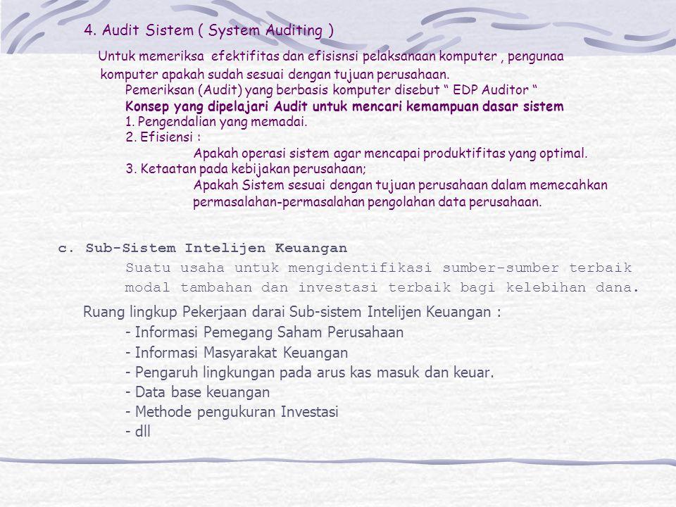 4. Audit Sistem ( System Auditing ) Untuk memeriksa efektifitas dan efisisnsi pelaksanaan komputer, pengunaa komputer apakah sudah sesuai dengan tujua
