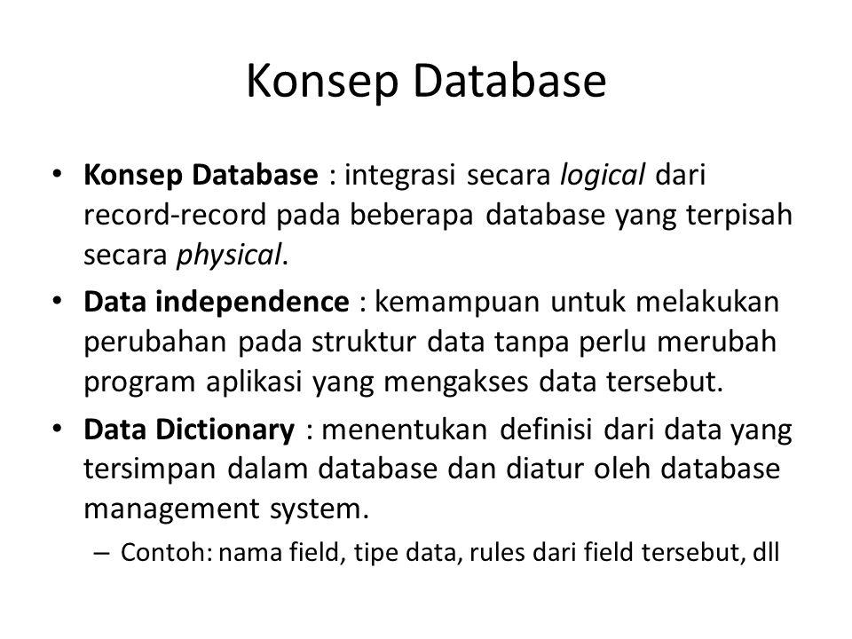 Konsep Database Konsep Database : integrasi secara logical dari record-record pada beberapa database yang terpisah secara physical. Data independence