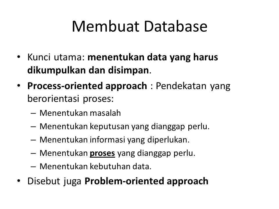 Membuat Database Kunci utama: menentukan data yang harus dikumpulkan dan disimpan. Process-oriented approach : Pendekatan yang berorientasi proses: –