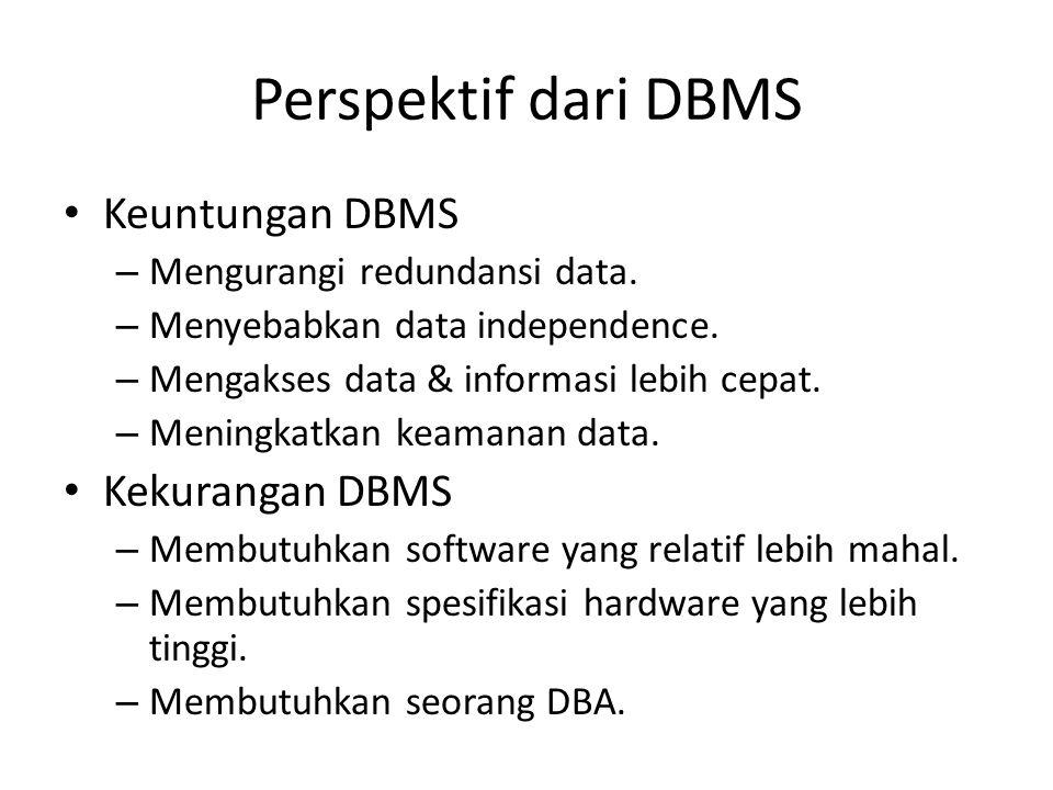 Perspektif dari DBMS Keuntungan DBMS – Mengurangi redundansi data. – Menyebabkan data independence. – Mengakses data & informasi lebih cepat. – Mening