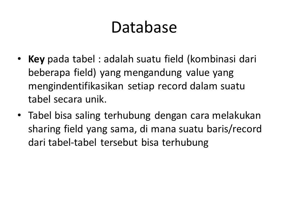 Database Key pada tabel : adalah suatu field (kombinasi dari beberapa field) yang mengandung value yang mengindentifikasikan setiap record dalam suatu