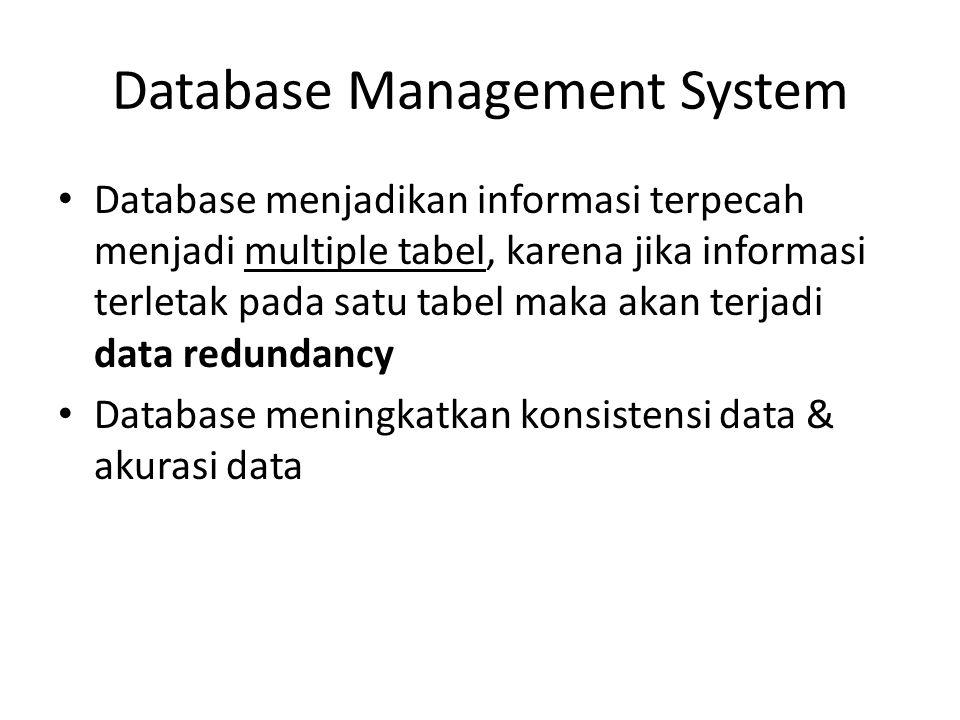Database Management System Database menjadikan informasi terpecah menjadi multiple tabel, karena jika informasi terletak pada satu tabel maka akan ter