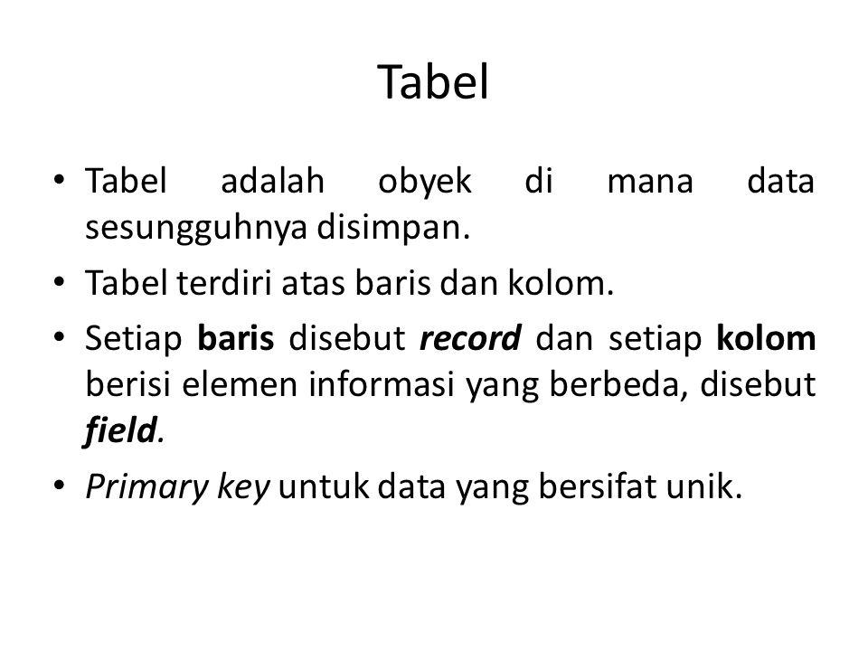 Tabel Tabel adalah obyek di mana data sesungguhnya disimpan.
