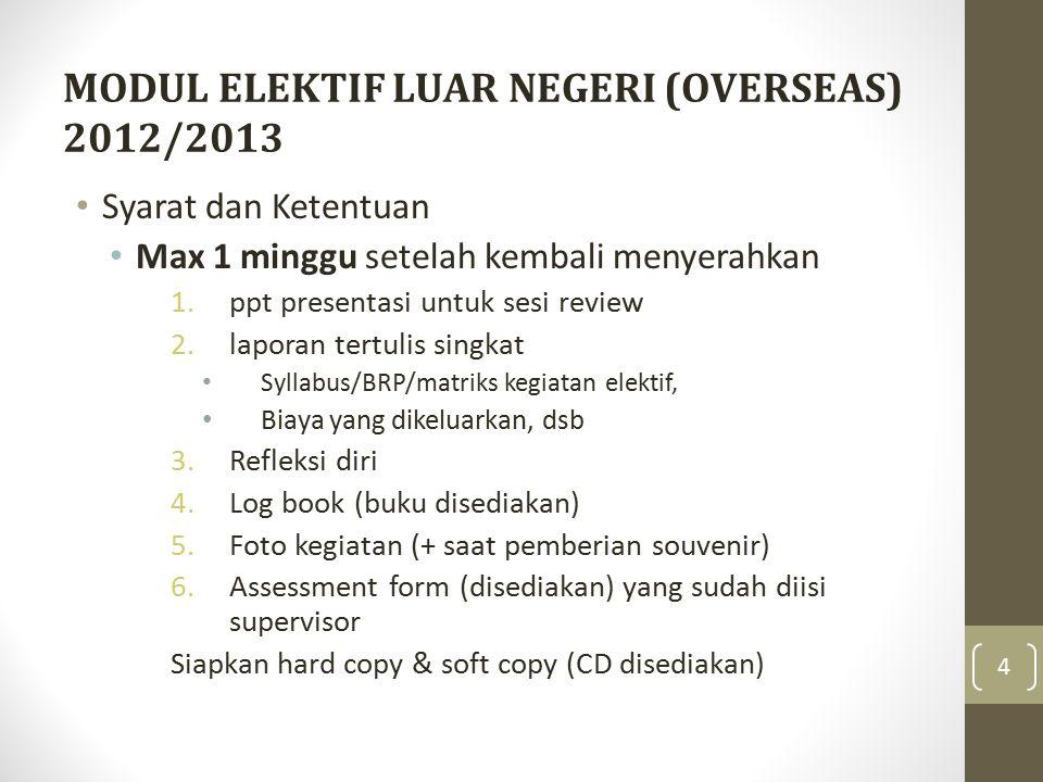 MODUL ELEKTIF LUAR NEGERI (OVERSEAS) 2012/2013 Syarat dan Ketentuan (lanjutan) Setelah berkas (1-6) lengkap, mempresentasikan elektif yang diikuti (review dari Kodik departemen terkait)  jadwal.