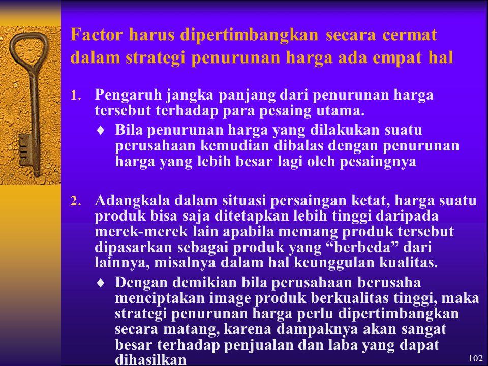 102 Factor harus dipertimbangkan secara cermat dalam strategi penurunan harga ada empat hal 1.