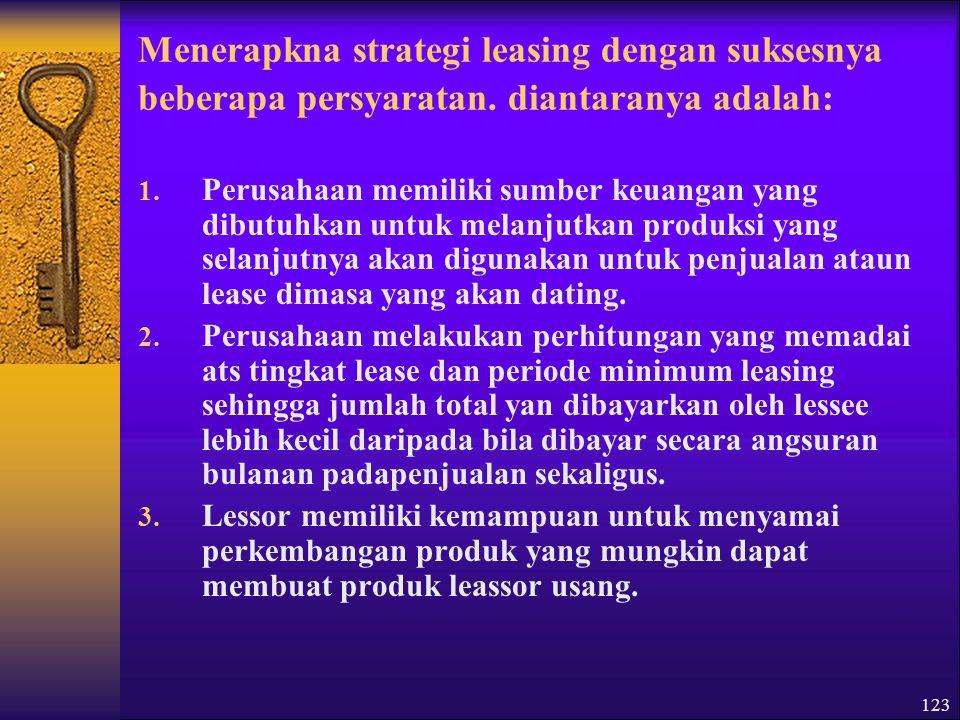 123 Menerapkna strategi leasing dengan suksesnya beberapa persyaratan.