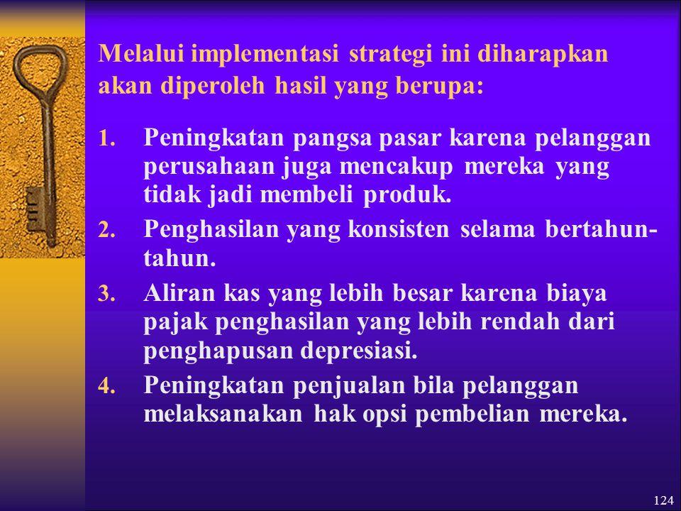 124 Melalui implementasi strategi ini diharapkan akan diperoleh hasil yang berupa: 1.