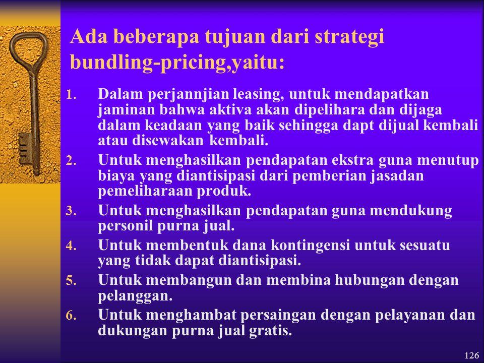126 Ada beberapa tujuan dari strategi bundling-pricing,yaitu: 1.