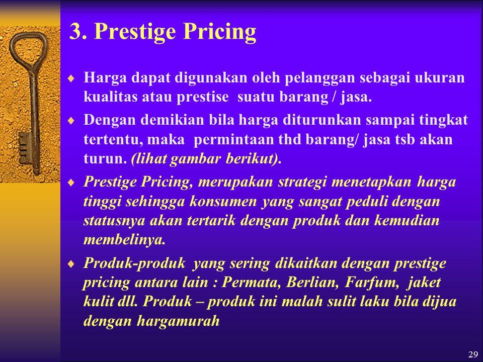 30 Gambar : Prestige Pricing ; Harga A PoB C Kuantitas Keterangan ; Gambar diatas menunjukkan bahwa dari titik A ke B konsumen menganggap penurunan harga sebagai efek dari tawar-menawar karena itu ereka membeli dlm jumlah yg lebih banyak, Akan tetapi dari titik B ke C merka meragukan kualitas dan prestise barang/jaa bersangktan, sehingga mereka akan mengurangi pembeliannya.