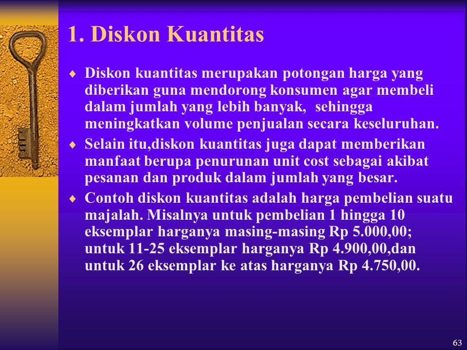 64  Diskon kuantitas bisa diterapkan berdasarkan berbagai ukuran, misalnya nilai (dalam rupiah) barang yang dibeli, jumlah unit barang yang dibeli,dan sebagainya.