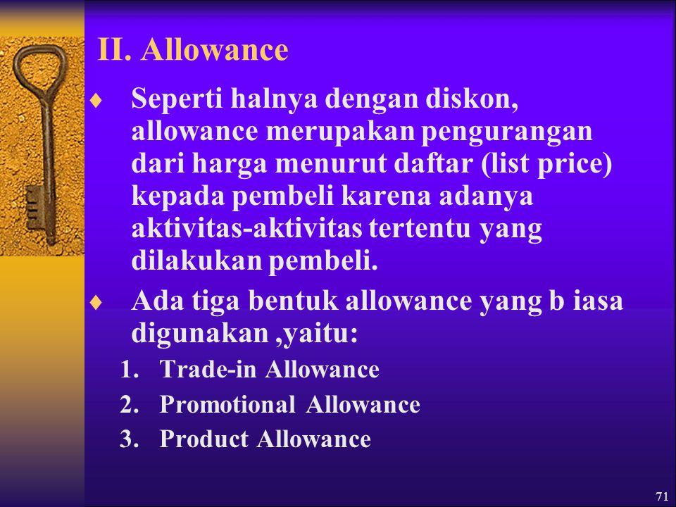 1.Trade-in Allowance  Trade-in allowance merupakan potongan harga yang diberikan dalam system tukar tambah.