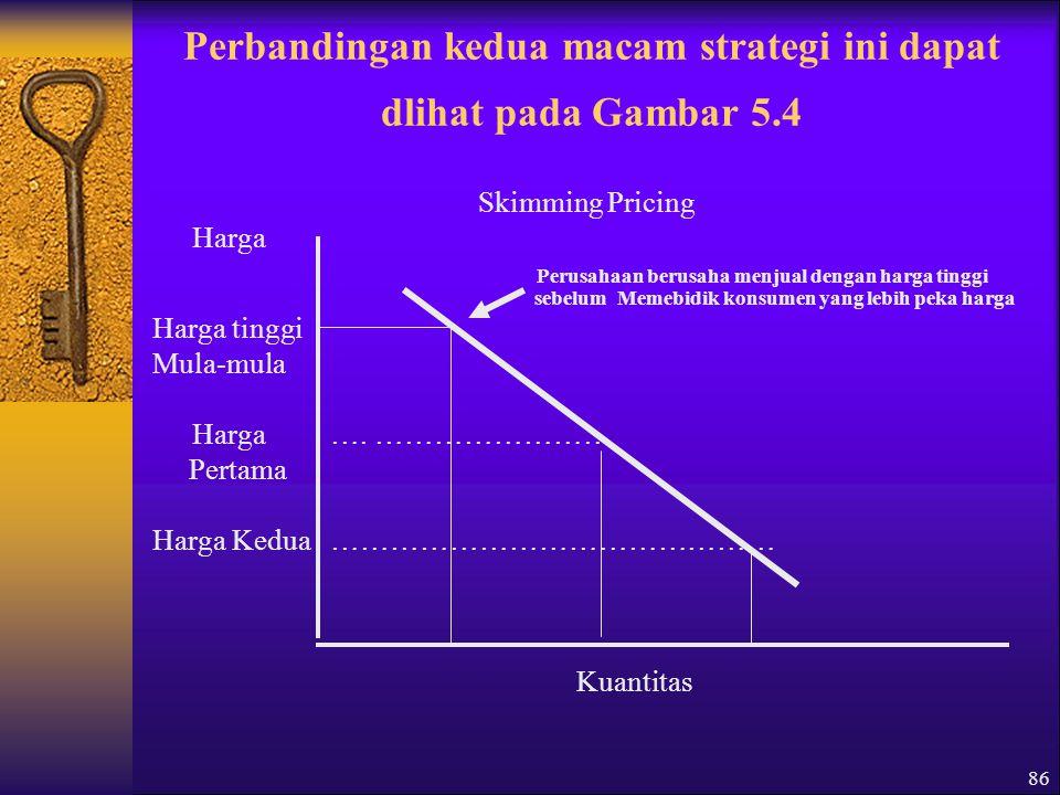 86 Perbandingan kedua macam strategi ini dapat dlihat pada Gambar 5.4 Skimming Pricing Harga Perusahaan berusaha menjual dengan harga tinggi sebelum Memebidik konsumen yang lebih peka harga Harga tinggi Mula-mula Harga ….