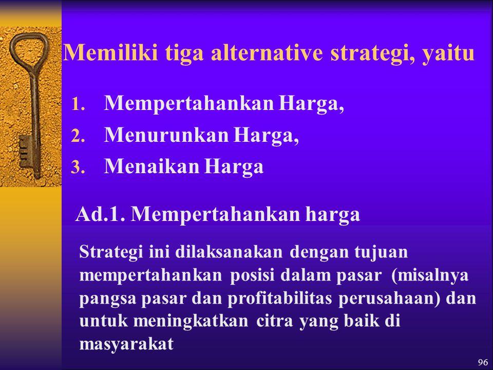 96 Memiliki tiga alternative strategi, yaitu 1.Mempertahankan Harga, 2.