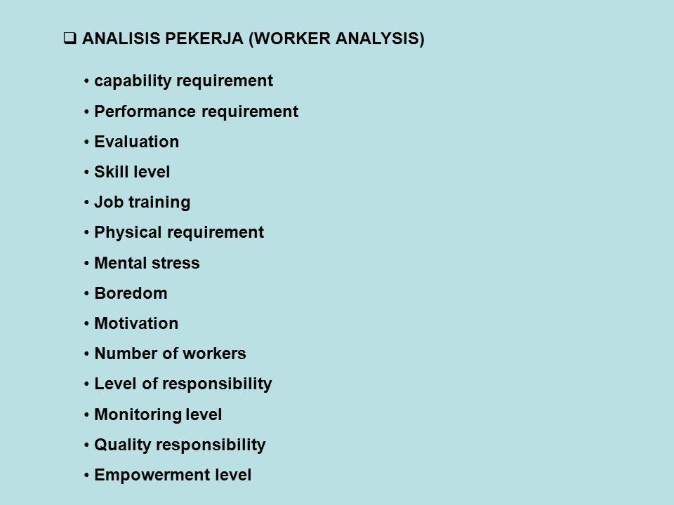  WORK SAMPLING Langkah-langkah Work Sampling 1.Define the job activities 2.Determine the number of observations in the work sample 3.Determine the length of sampling period 4.Conduct the work sampling study and record the observations 5.Periodically recompute the number of observations