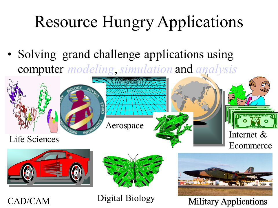 3 Resource Hungry Applications Solving grand challenge applications using computer modeling, simulation and analysis Life Sciences CAD/CAM Aerospace M