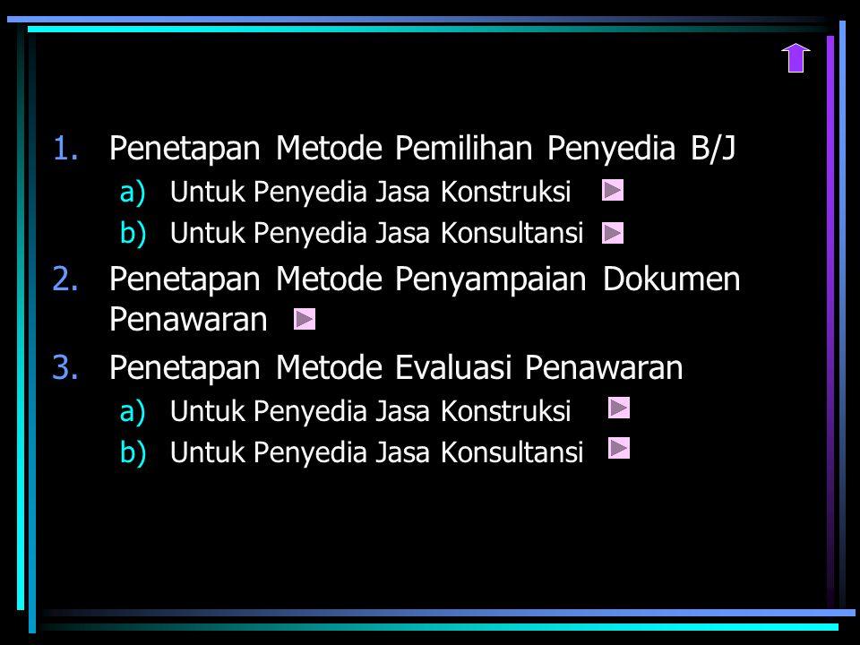 1.Penetapan Metode Pemilihan Penyedia B/J a)Untuk Penyedia Jasa Konstruksi b)Untuk Penyedia Jasa Konsultansi 2.Penetapan Metode Penyampaian Dokumen Penawaran 3.Penetapan Metode Evaluasi Penawaran a)Untuk Penyedia Jasa Konstruksi b)Untuk Penyedia Jasa Konsultansi