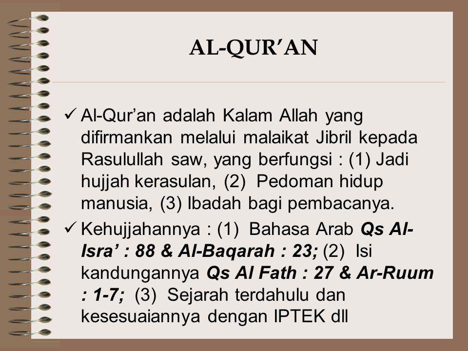 AL-QUR'AN Al-Qur'an adalah Kalam Allah yang difirmankan melalui malaikat Jibril kepada Rasulullah saw, yang berfungsi : (1) Jadi hujjah kerasulan, (2)