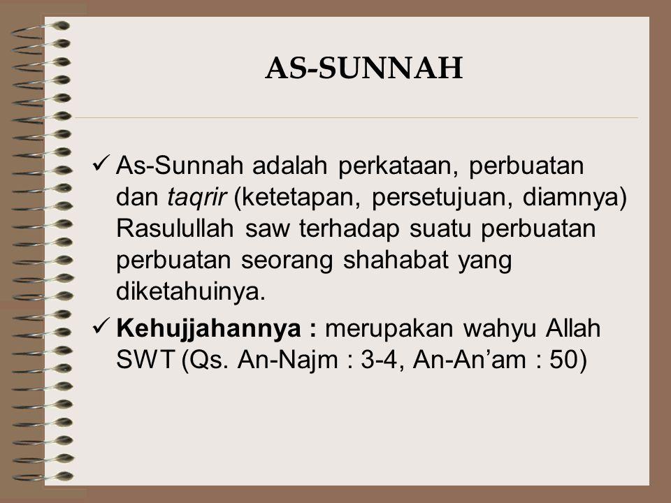 AS-SUNNAH Fungsi As-Sunnah terhadap Al-Qur'an : Menguraikan Kemujmalan (keglobalan) Al- Qur'an Pengkhususan keumuman Al-Qur'an Taqyid (Pensyaratan) terhadap ayat Al- Qur'an yang Mutlak Pelengkap keterangan sebagian hukum- hukum Al-Qur'an Menetapkan hukum-hukum baru