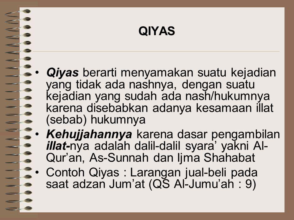 QIYAS Qiyas berarti menyamakan suatu kejadian yang tidak ada nashnya, dengan suatu kejadian yang sudah ada nash/hukumnya karena disebabkan adanya kesa