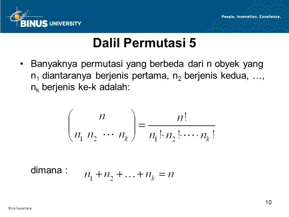 Bina Nusantara Banyaknya permutasi yang berbeda dari n obyek yang n 1 diantaranya berjenis pertama, n 2 berjenis kedua, …, n k berjenis ke-k adalah: dimana : Dalil Permutasi 5 10