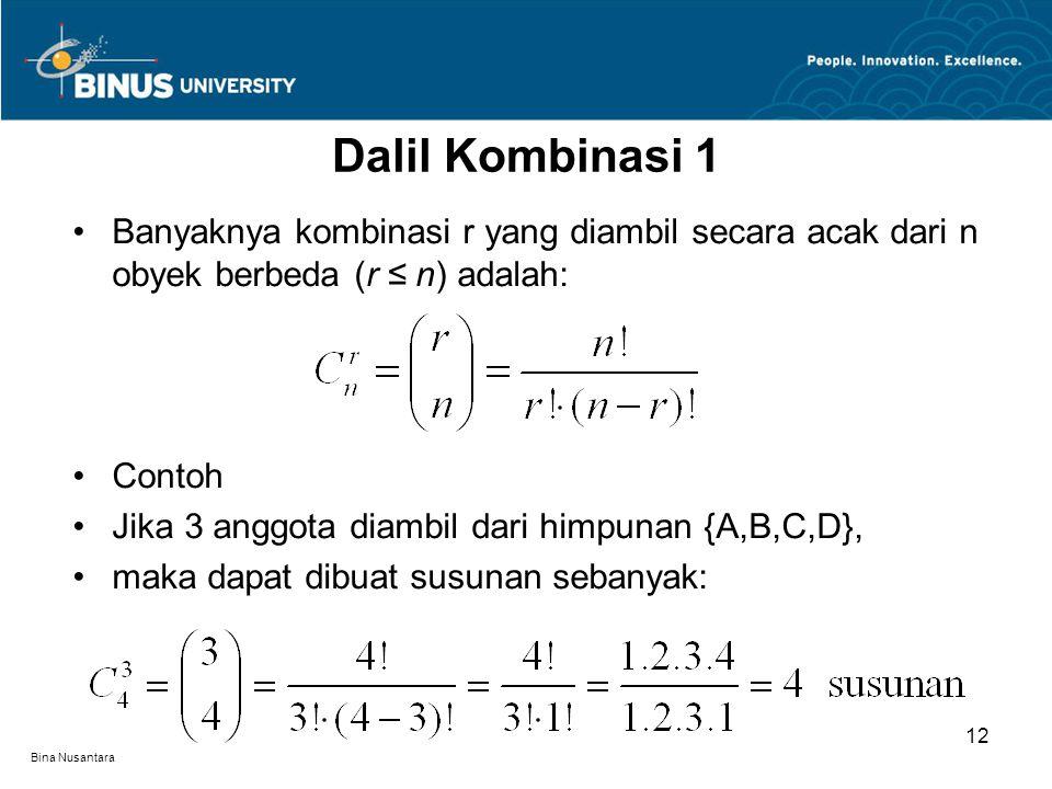 Bina Nusantara Banyaknya kombinasi r yang diambil secara acak dari n obyek berbeda (r ≤ n) adalah: Contoh Jika 3 anggota diambil dari himpunan {A,B,C,D}, maka dapat dibuat susunan sebanyak: Dalil Kombinasi 1 12