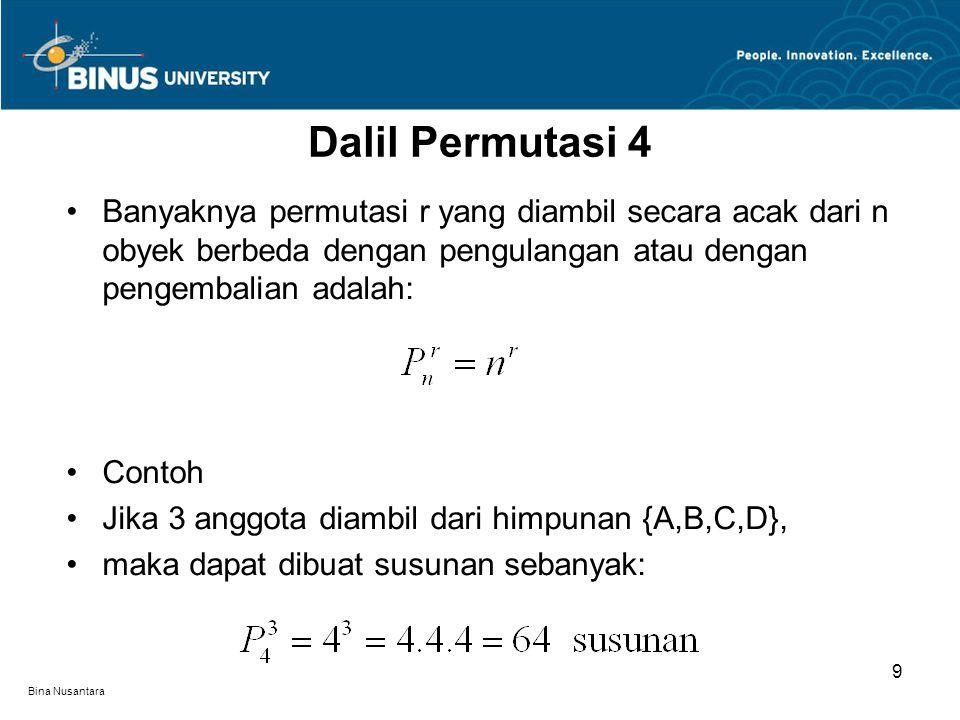 Bina Nusantara Banyaknya permutasi r yang diambil secara acak dari n obyek berbeda dengan pengulangan atau dengan pengembalian adalah: Contoh Jika 3 anggota diambil dari himpunan {A,B,C,D}, maka dapat dibuat susunan sebanyak: Dalil Permutasi 4 9