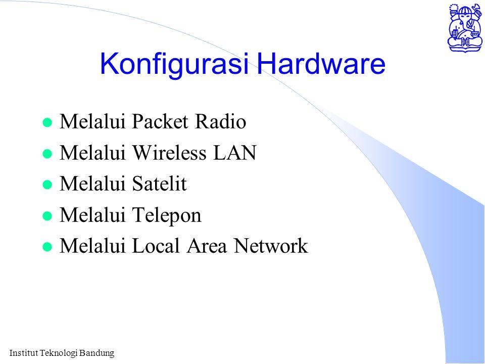 Institut Teknologi Bandung Konfigurasi Hardware l Melalui Packet Radio l Melalui Wireless LAN l Melalui Satelit l Melalui Telepon l Melalui Local Area Network