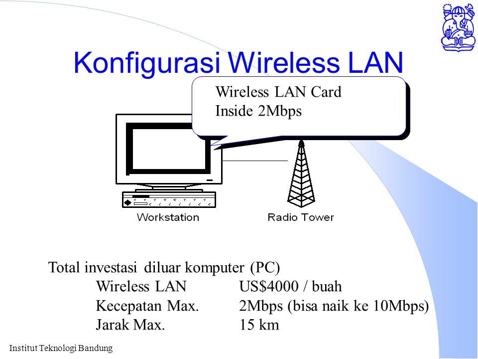 Institut Teknologi Bandung Konfigurasi Wireless LAN Wireless LAN Card Inside 2Mbps Total investasi diluar komputer (PC) Wireless LAN US$4000 / buah Kecepatan Max.2Mbps (bisa naik ke 10Mbps) Jarak Max.15 km