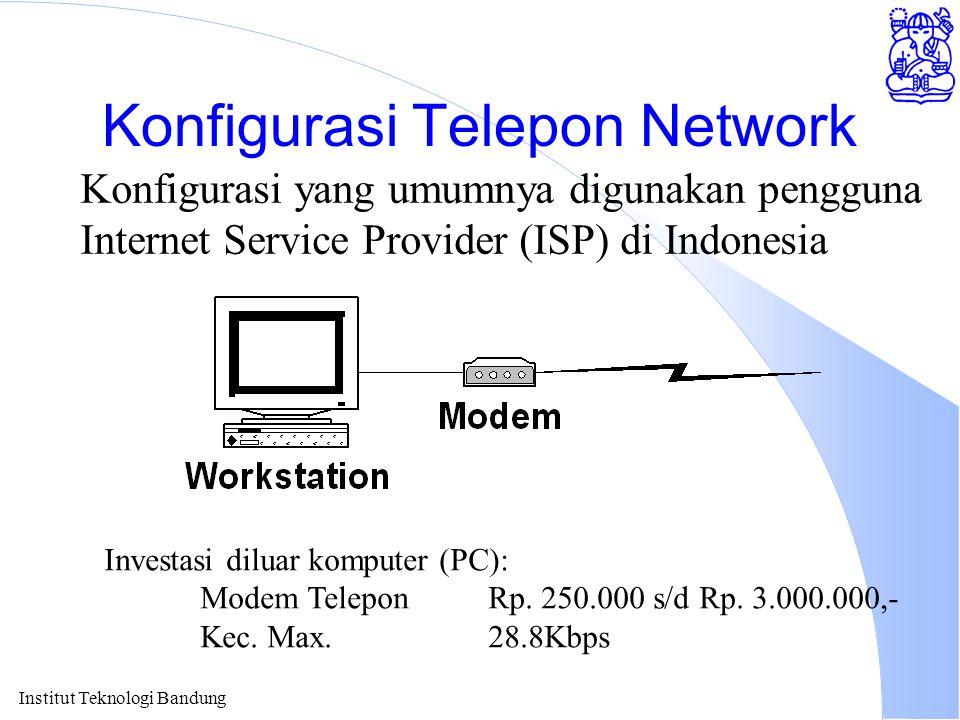 Institut Teknologi Bandung Konfigurasi Telepon Network Konfigurasi yang umumnya digunakan pengguna Internet Service Provider (ISP) di Indonesia Investasi diluar komputer (PC): Modem TeleponRp.