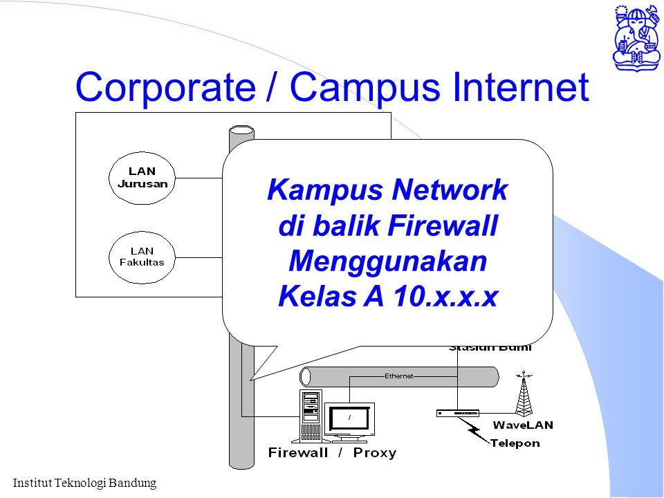 Institut Teknologi Bandung Corporate / Campus Internet Kampus Network di balik Firewall Menggunakan Kelas A 10.x.x.x