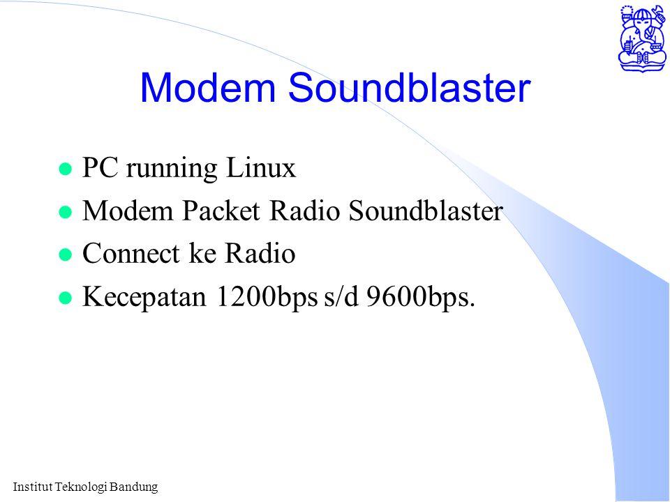 Modem Soundblaster l PC running Linux l Modem Packet Radio Soundblaster l Connect ke Radio l Kecepatan 1200bps s/d 9600bps.