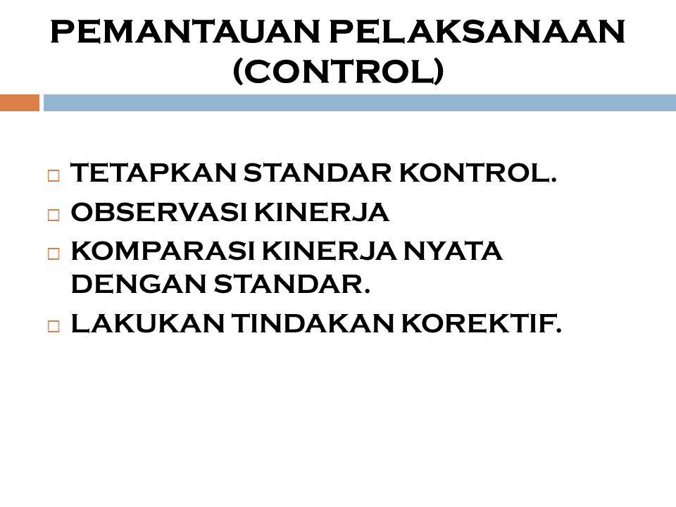  TETAPKAN STANDAR KONTROL.  OBSERVASI KINERJA  KOMPARASI KINERJA NYATA DENGAN STANDAR.  LAKUKAN TINDAKAN KOREKTIF. PEMANTAUAN PELAKSANAAN (CONTROL