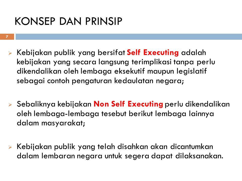 KONSEP DAN PRINSIP 7  Kebijakan publik yang bersifat Self Executing adalah kebijakan yang secara langsung terimplikasi tanpa perlu dikendalikan oleh
