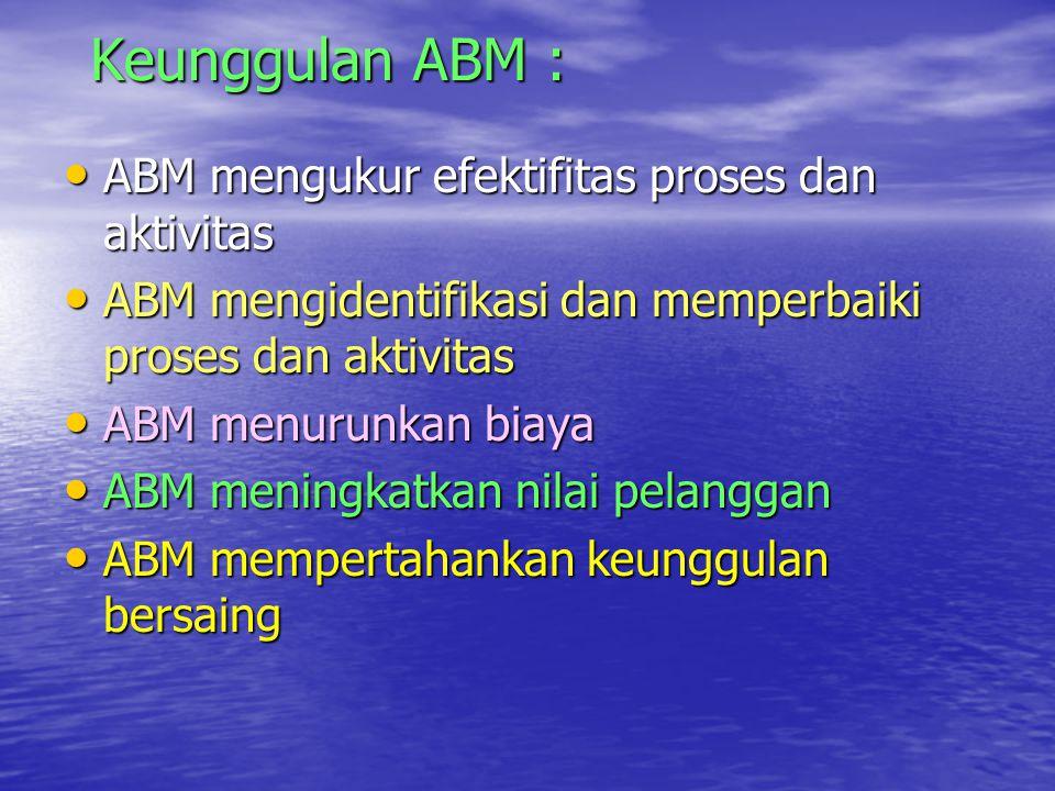 Keunggulan ABM : ABM mengukur efektifitas proses dan aktivitas ABM mengukur efektifitas proses dan aktivitas ABM mengidentifikasi dan memperbaiki pros