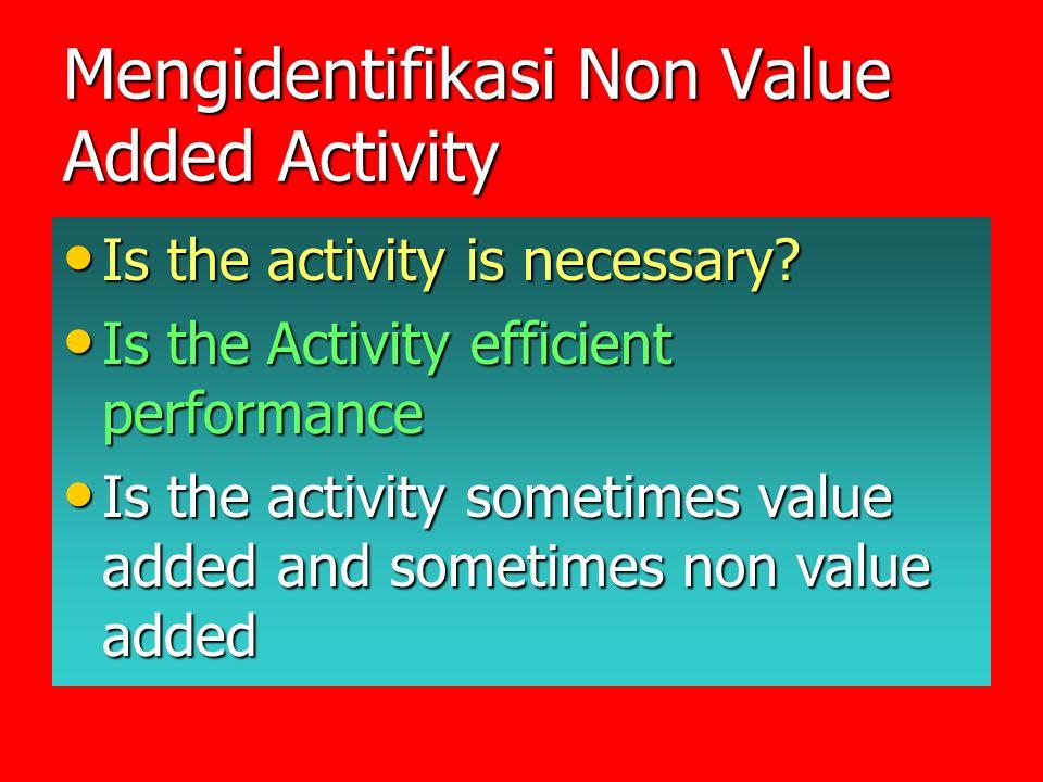 Mengidentifikasi Non Value Added Activity Is the activity is necessary? Is the activity is necessary? Is the Activity efficient performance Is the Act