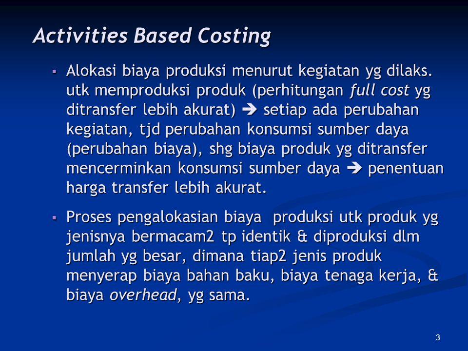 3 Activities Based Costing Activities Based Costing  Alokasi biaya produksi menurut kegiatan yg dilaks. utk memproduksi produk (perhitungan full cost