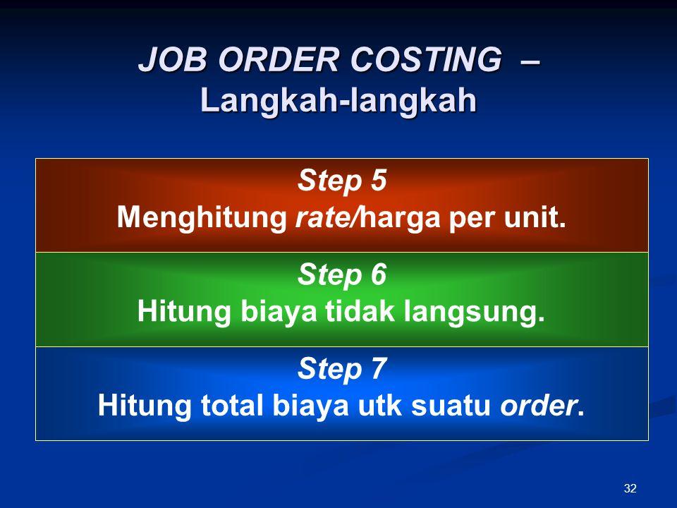 32 JOB ORDER COSTING – Langkah-langkah Step 5 Menghitung rate/harga per unit. Step 6 Hitung biaya tidak langsung. Step 7 Hitung total biaya utk suatu