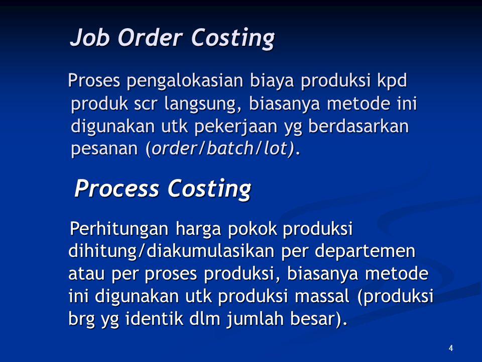 4 Job Order Costing Job Order Costing Proses pengalokasian biaya produksi kpd produk scr langsung, biasanya metode ini digunakan utk pekerjaan yg berd