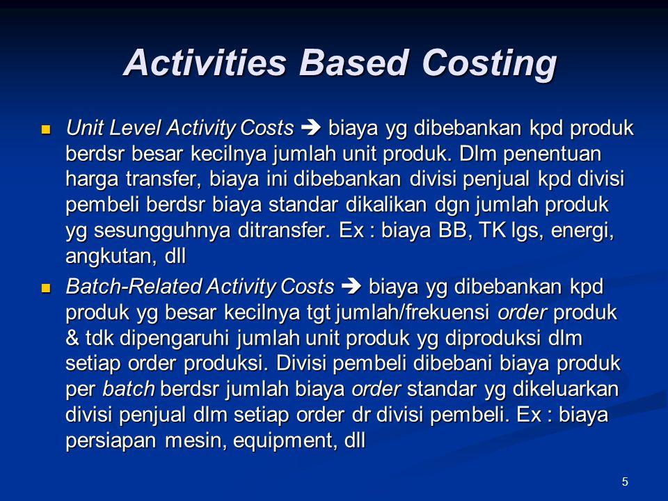 5 Activities Based Costing Unit Level Activity Costs  biaya yg dibebankan kpd produk berdsr besar kecilnya jumlah unit produk. Dlm penentuan harga tr