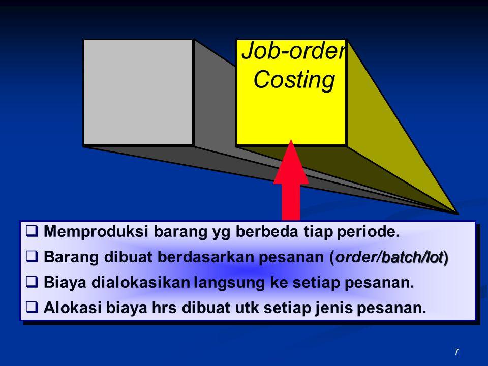 7 Job-order Costing  Memproduksi barang yg berbeda tiap periode. batch/lot)  Barang dibuat berdasarkan pesanan (order/batch/lot)  Biaya dialokasika