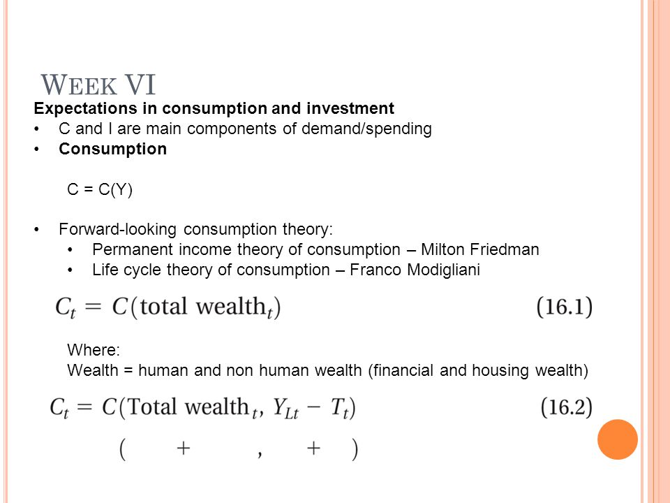 W EEK VI Expectations in consumption and investment C and I are main components of demand/spending Consumption C = C(Y) Forward-looking consumption theory: Permanent income theory of consumption – Milton Friedman Life cycle theory of consumption – Franco Modigliani Where: Wealth = human and non human wealth (financial and housing wealth)