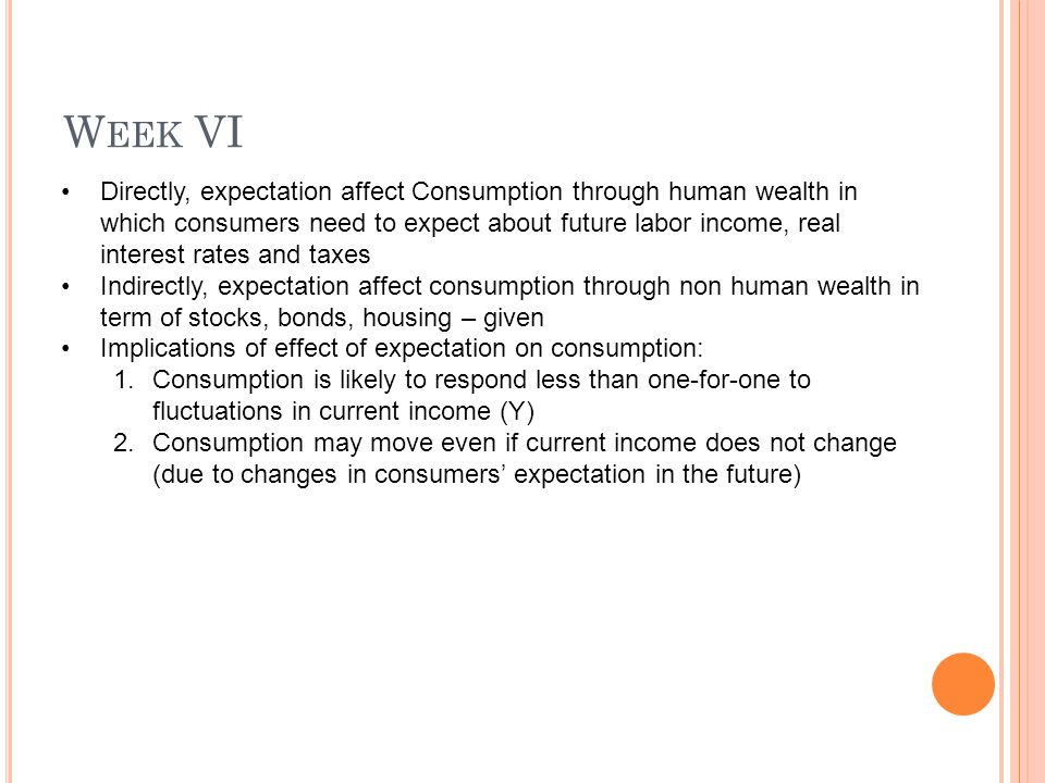 W EEK VI Directly, expectation affect Consumption through human wealth in which consumers need to expect about future labor income, real interest rates and taxes Indirectly, expectation affect consumption through non human wealth in term of stocks, bonds, housing – given Implications of effect of expectation on consumption: 1.Consumption is likely to respond less than one-for-one to fluctuations in current income (Y) 2.Consumption may move even if current income does not change (due to changes in consumers' expectation in the future)