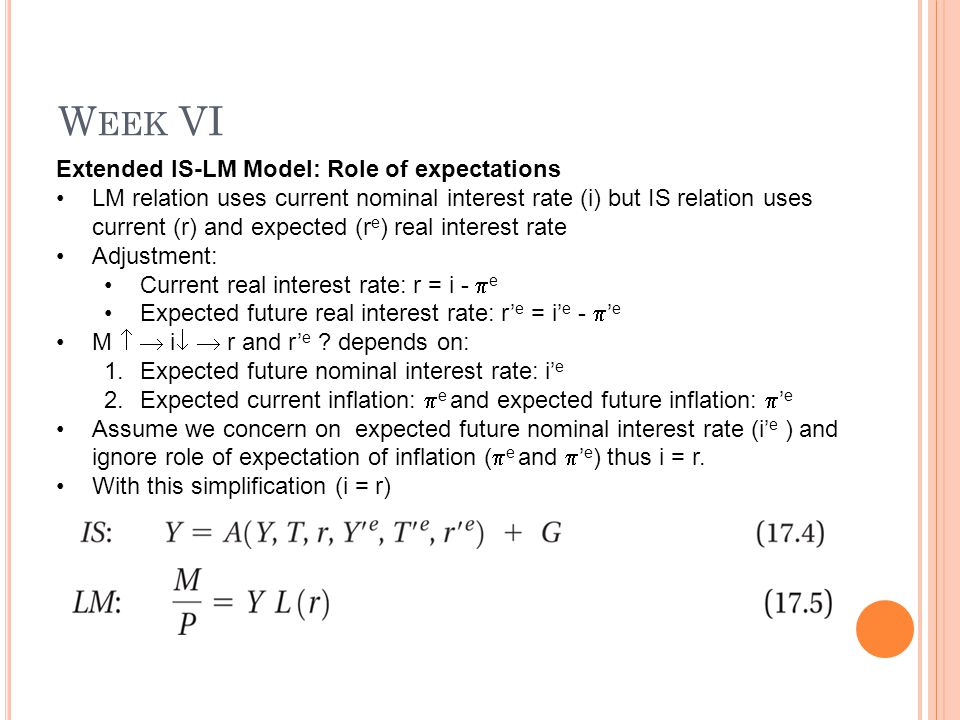 W EEK VI Extended IS-LM Model: Role of expectations LM relation uses current nominal interest rate (i) but IS relation uses current (r) and expected (r e ) real interest rate Adjustment: Current real interest rate: r = i -  e Expected future real interest rate: r' e = i' e -  ' e M   i   r and r' e .