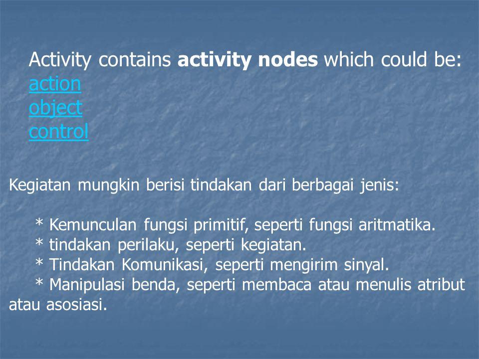 Activity contains activity nodes which could be: action object control Kegiatan mungkin berisi tindakan dari berbagai jenis: * Kemunculan fungsi primitif, seperti fungsi aritmatika.