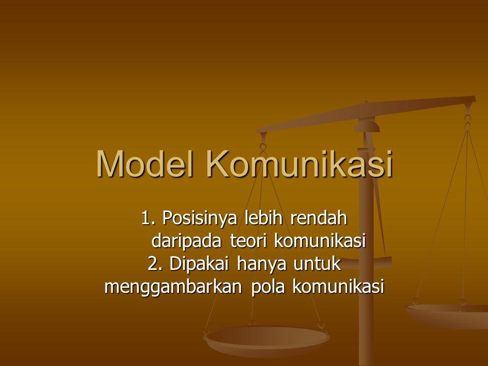 Model Komunikasi 1. Posisinya lebih rendah daripada teori komunikasi daripada teori komunikasi 2.