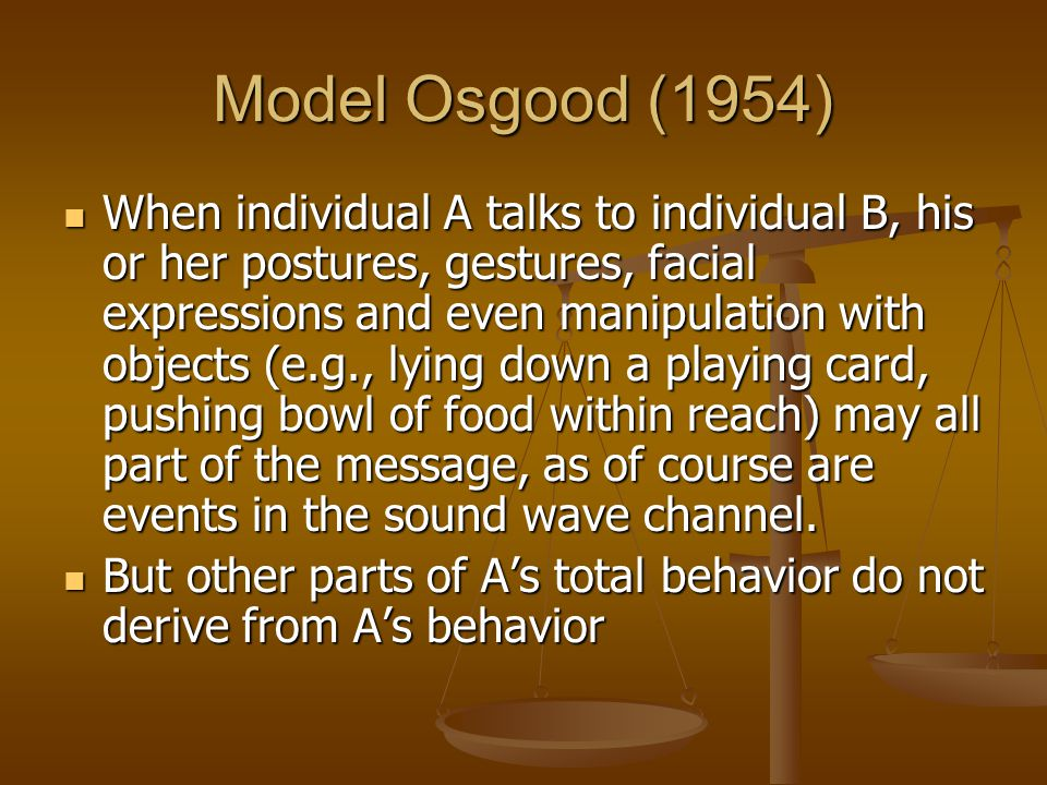 Model Osgood (1954) When individual A talks to individual B, his or her postures, gestures, facial expressions and even manipulation with objects (e.g., lying down a playing card, pushing bowl of food within reach) may all part of the message, as of course are events in the sound wave channel.