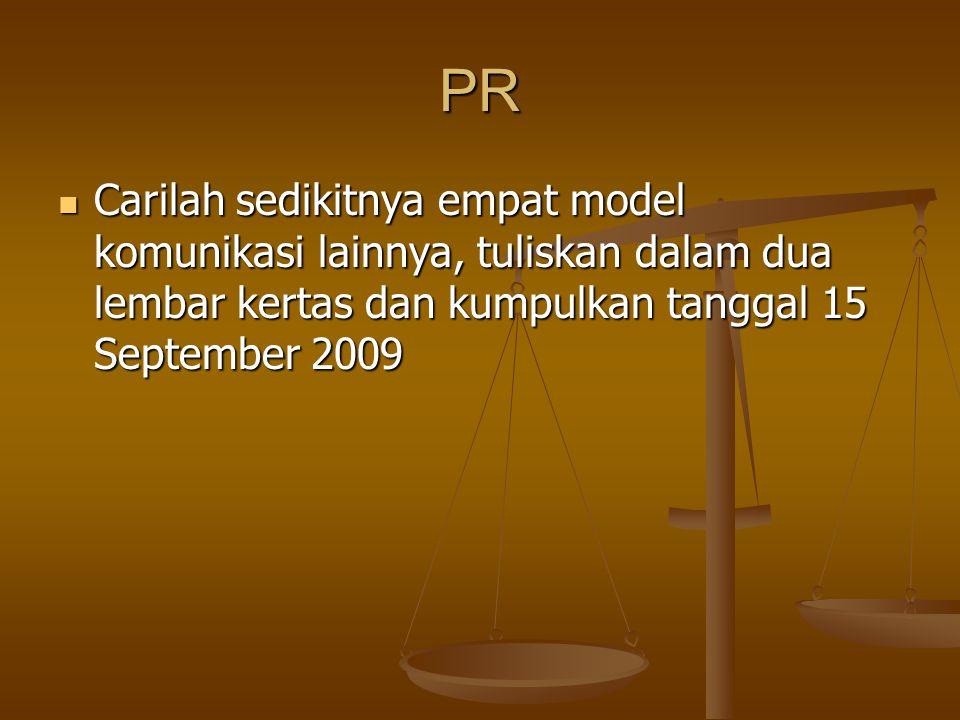 PR Carilah sedikitnya empat model komunikasi lainnya, tuliskan dalam dua lembar kertas dan kumpulkan tanggal 15 September 2009 Carilah sedikitnya empat model komunikasi lainnya, tuliskan dalam dua lembar kertas dan kumpulkan tanggal 15 September 2009