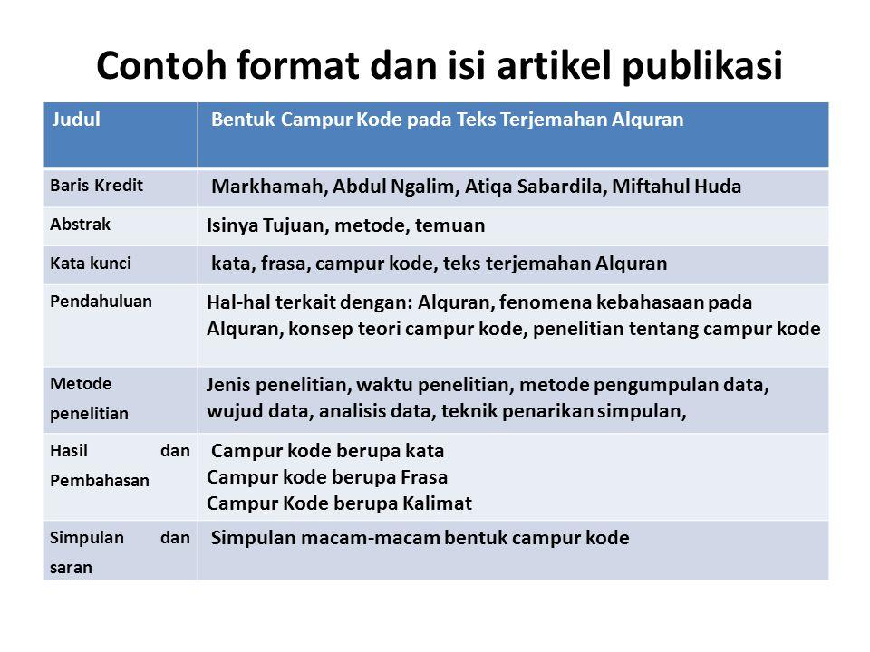 Contoh format dan isi artikel publikasi Judul Bentuk Campur Kode pada Teks Terjemahan Alquran Baris Kredit Markhamah, Abdul Ngalim, Atiqa Sabardila, M