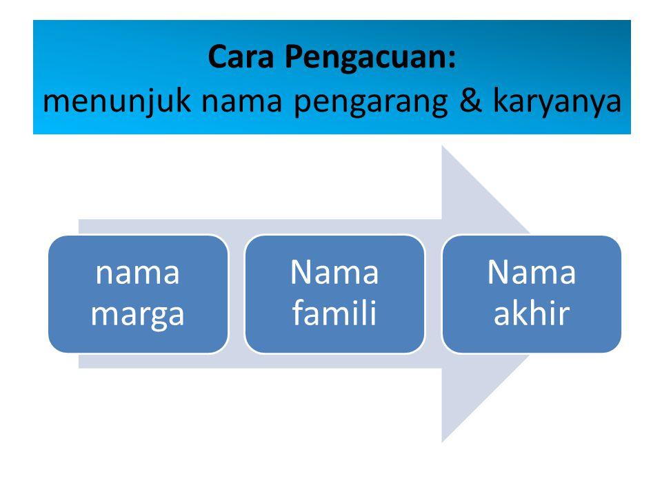 Cara Pengacuan: menunjuk nama pengarang & karyanya nama marga Nama famili Nama akhir