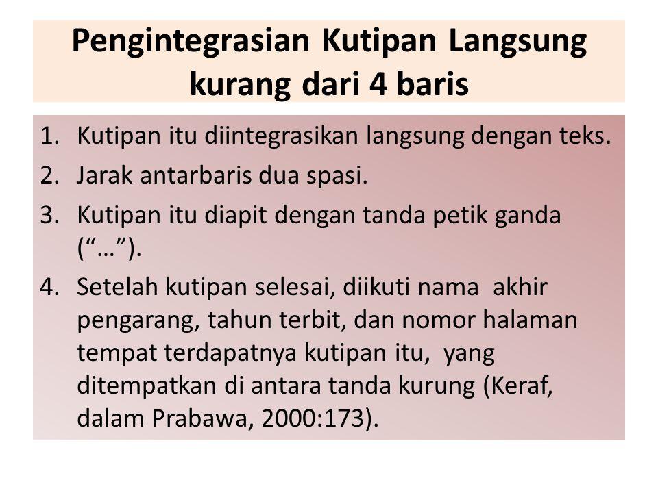 Pengintegrasian Kutipan Langsung kurang dari 4 baris 1.Kutipan itu diintegrasikan langsung dengan teks. 2.Jarak antarbaris dua spasi. 3.Kutipan itu di